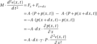 \[ \begin{align*}M \cdot \frac{d^2 \epsilon (x,t)}{dt^2} &= F_x + F_{x+dx}\\&= A \cdot (P + p(x,t)) \enspace - \enspace A \cdot (P + p(x + dx,t))\\ &= - A \cdot (p(x+dx,t) - p(x,t))\\ &= - A \cdot dx \cdot\frac{ \partial p (x,t)}{\partial x}\\&=  A \cdot  dx \cdot \gamma \cdot P \cdot \frac{ \partial^2 \epsilon (x,t)}{\partial x^2}\end{algin*} \]